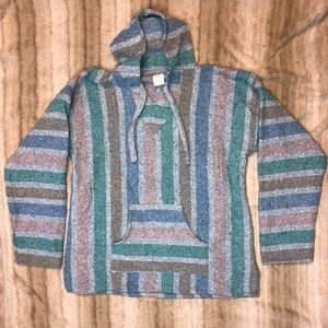 Sweaters - Mexican Baja poncho hoodie. PERFECT CONDITION!!
